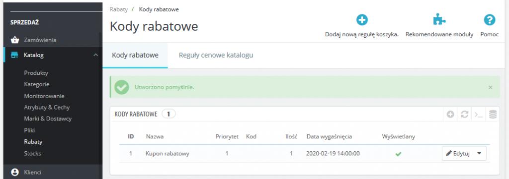 Promocje i kody rabatowe w Prestashop 1.7